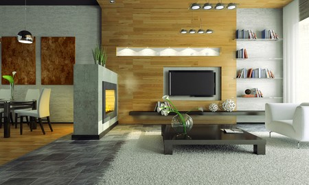 View on the modern apartment with fireplace 3D. Photo in magazine was made by me, I uploaded models release photo