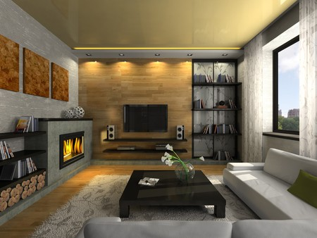 View on the modern apartment with fireplace 3D. Photo in the magazine was made by me, I uploaded models release