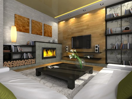 View on the modern apartment with fireplace 3D. Photo in the magazine was made by me, I uploaded models release photo