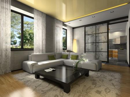 Innenraum der stilvolle Wohnung. Foto in der Zeitschrift wurde von mir gemacht.  Lizenzfreie Bilder