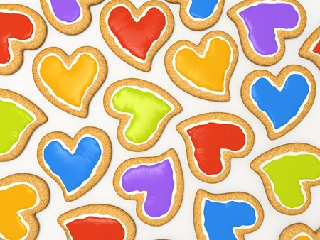 Multicoloured heart cookies for valentine isolated on white background 3D photo
