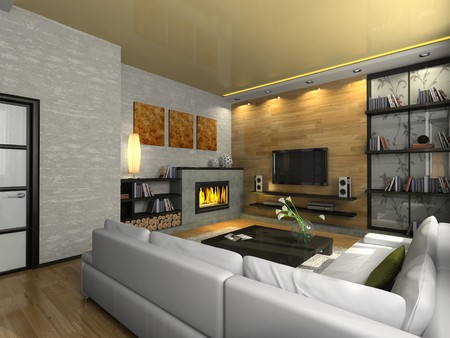 View on the modern apartment with fireplace 3D. Photo in the magazine was made by me, I uploaded model's release Stock Photo - 4462509