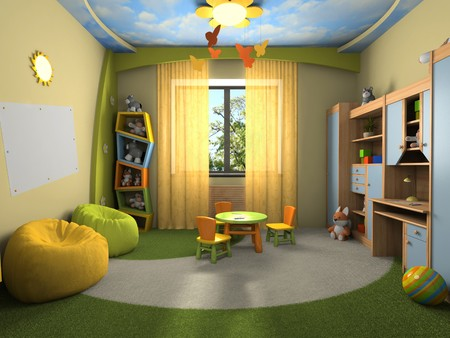 desk toy: Modern interior of the childroom 3D rendering