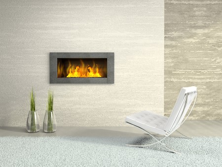 furnishings: Part of the modern interior with fireplace 3D rendering Stock Photo