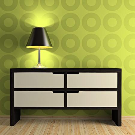 Teil der modernen Interieur mit Tisch und Lampe 3D-Rendering Lizenzfreie Bilder