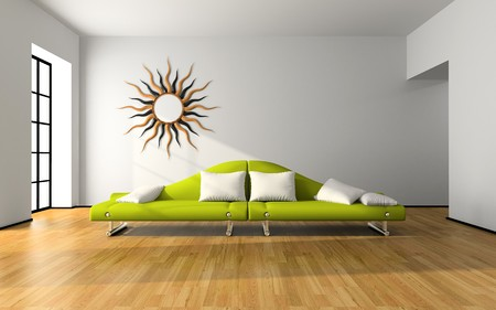 Modern interior with green sofa 3D rendering Stock Photo