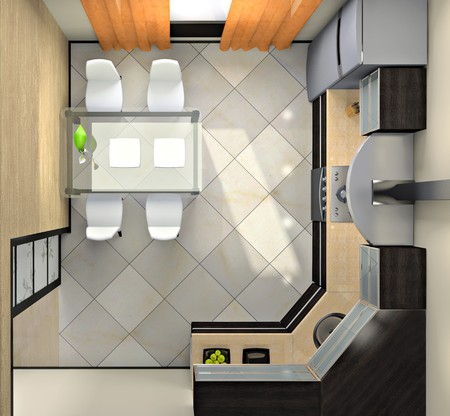 View from above on the modern kitchen 3D rendering Stock Photo