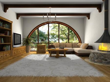 window shade: Ver en la moderna sala de estar con grandes ventanas 3D Foto de archivo