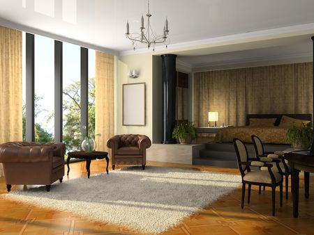 apartment suite: View on the modern hotel suite 3D rendering