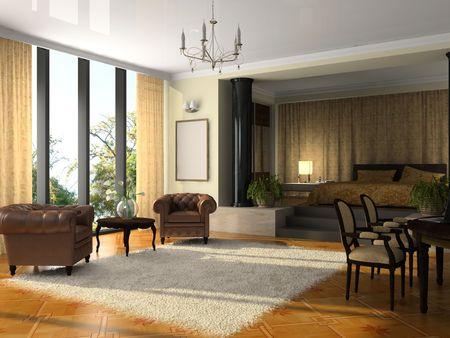 arredamento classico: Visualizza il moderno hotel suite rendering 3D Archivio Fotografico