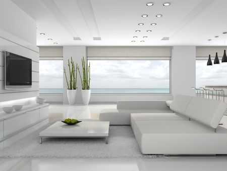 niche: White interior of the stylish apartment 3D rendering