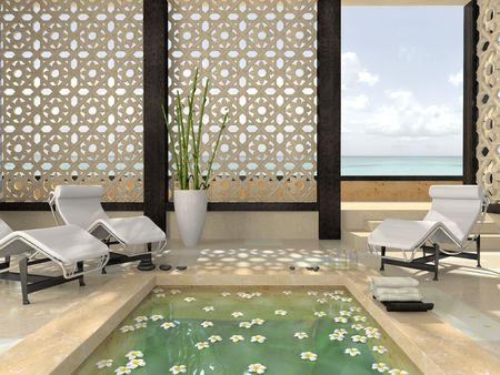 spa stones: Interior of the modern spa 3D rendering Stock Photo