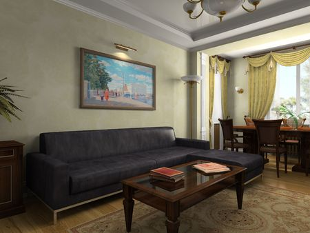 portiere: View on the interior in classical style 3D rendering