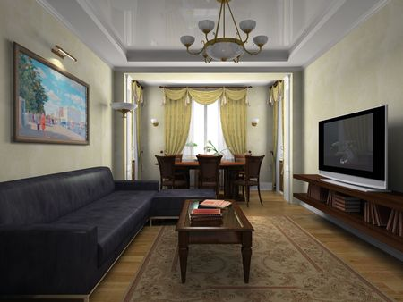 View on the interior in classical style 3D rendering Stock Photo - 4751644