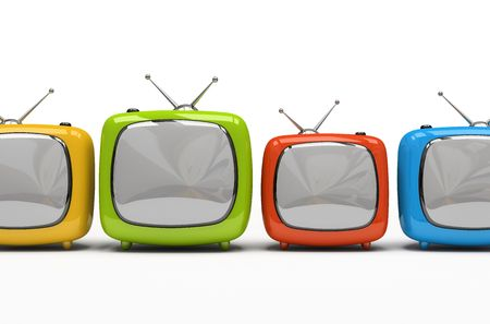 prime: Four colorful television sets isolated on white background 3D rendering