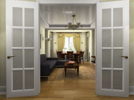 portiere: Modern interior in classical style 3D rendering Stock Photo