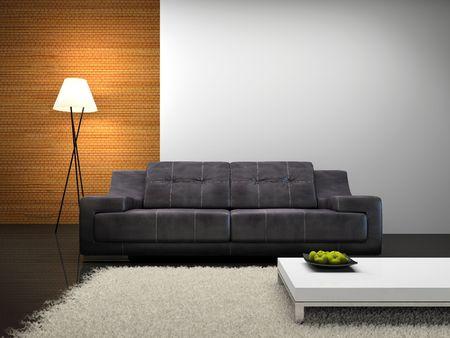 Ein Teil der modernen Innenarchitektur mit Sofa 3D-Rendering Lizenzfreie Bilder