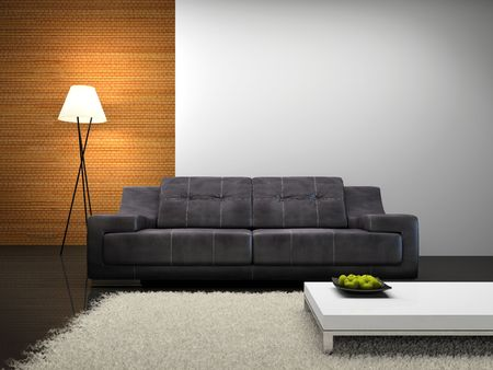 Part of the modern interior with sofa 3D rendering Stock Photo