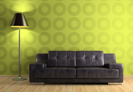 Part of the modern interior with sofa and lamp 3D rendering Stock Photo