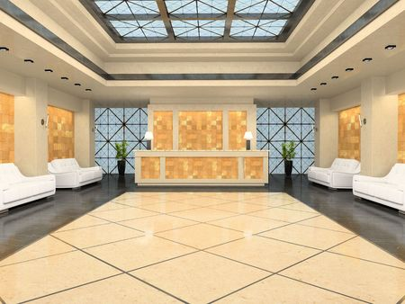 reception desk: Reception in modern hotel 3D rendering Stock Photo