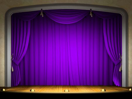 performance art: Empty stage with violet curtain in expectation of performance