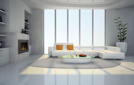 Innere des im Wohnzimmer mit Kamin 3D rendering
