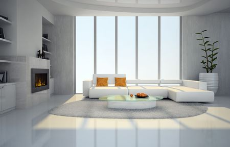 Interior of the living-room with fireplace 3D rendering Stock Photo