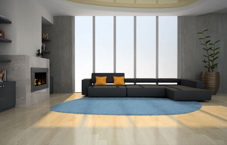 Interior of the living-room with fireplace 3D rendering photo