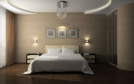 Interior of the stylish bedroom 3D rendering Stock Photo