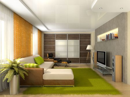 Living-room in the modern apartment 3D rendering Stock Photo
