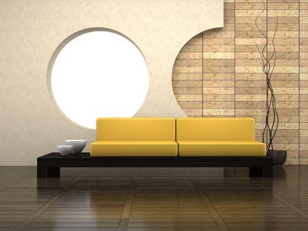 Modern drawing-room 3D rendering