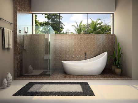 Interior of the modern bathroom 3D rendering Stock Photo