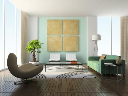 Interior of the modern living-room 3D rendering