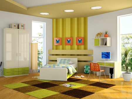 Modern interior of the childroom 3D rendering