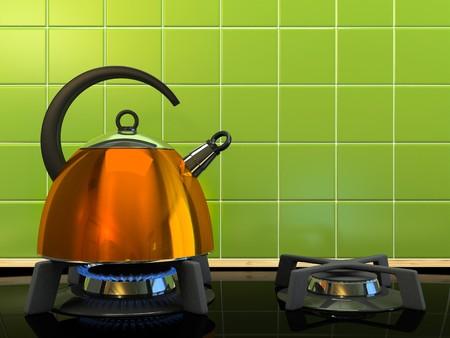 ガス ストーブの 3 D レンダリング上のオレンジ色のやかん 写真素材