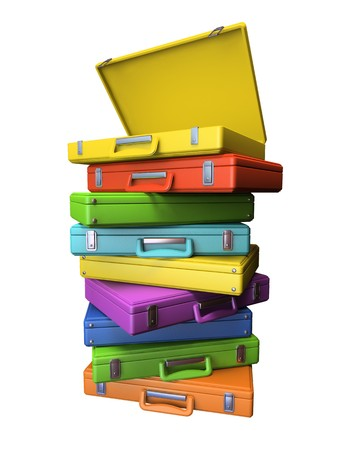 vain: Set of the colourful suitcases isolated on white background 3D rendering