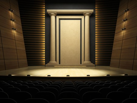 limelight: Empty stage in expectation of performance 3D rendering Stock Photo