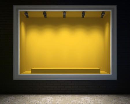 Lege showcase van een winkel in het avond licht 3D-rendering