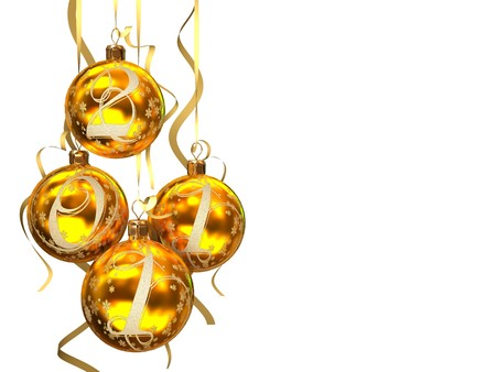 Christmas balls 2011 on white background 3D rendering photo