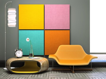 Part of the unusual l interior 3D rendering Stock Photo