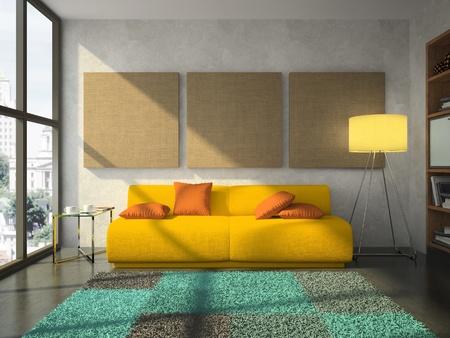 Blick auf die komfortable Wohnzimmer-3D-rendering
