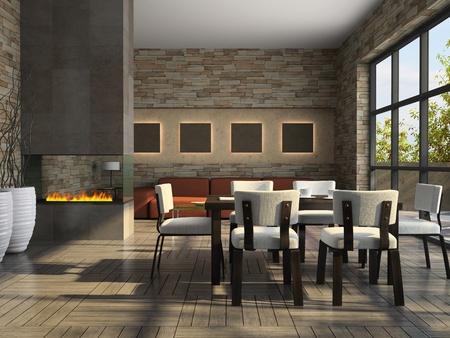 Interieur van de woonkamer met open haard 3D-rendering