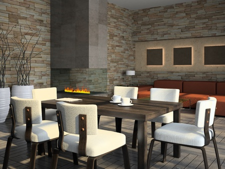 Interior of the living-room with fireplace 3D rendering Stock Photo - 8349293