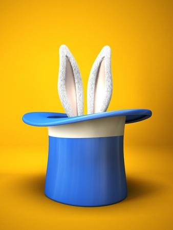 Blauwe cilinderhoed met konijn oren geïsoleerd op gele achtergrond 3D