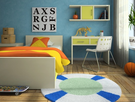 3d interior picture: Interior of the modern childroom 3D rendering
