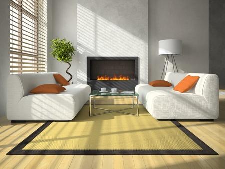 Innere des modernen Wohnzimmer mit Kamin 3D-Rendering
