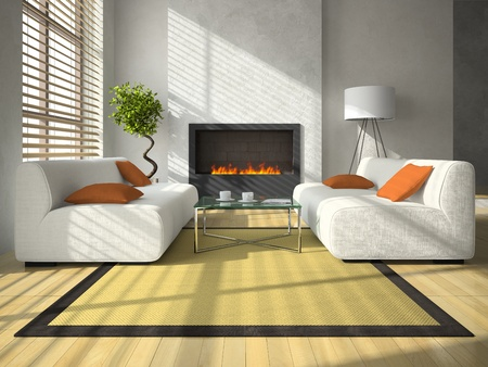 Interior of the modern living-room with fireplace 3D rendering photo