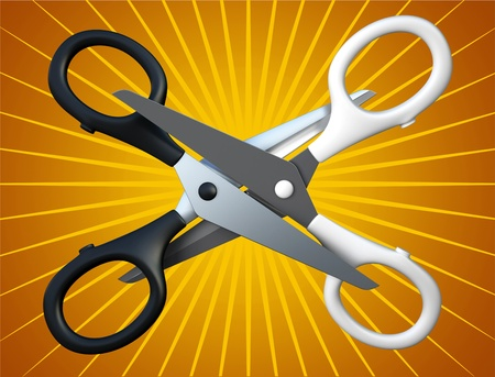 pair of scissors: Pair of the scissors isolated on background 3D rendering