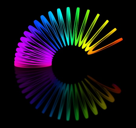 Multicolored slink isolated on black background 3D rendering