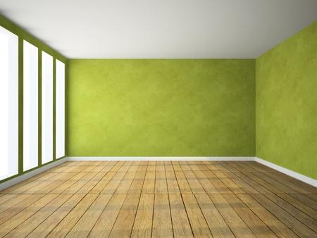 緑の色 3 D レンダリングで空部屋